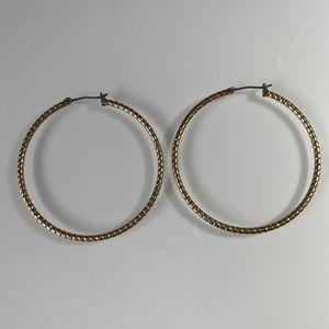 Lucky Brand | Gold-Tone Rope Twist Hoop Earrings